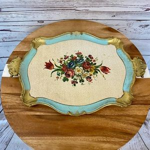 Vintage Tradmark Made in Italy Floral Tray Wooden